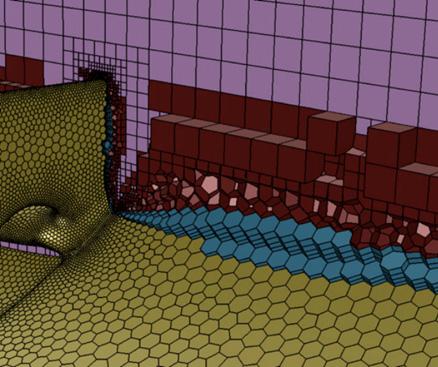 Сетка на основе технологии Mosaic, в которой шестигранные элементы объемной сетки соединяются с элементами на границах расчетной области с помощью многогранных элементов.