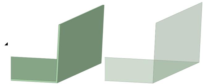 Трехмерное тело (слева) заменено на поверхностное тело (справа) с использованием инструмента Ansys SpaceClaim «Create MidSurface»