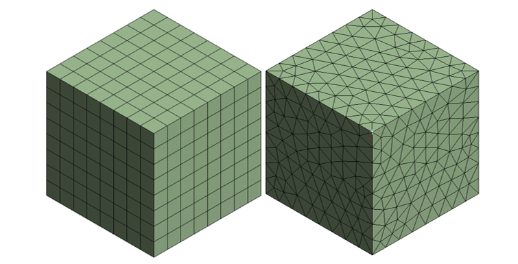 Тело разбито гексаэдрами (слева) и тетраэдрами (справа)