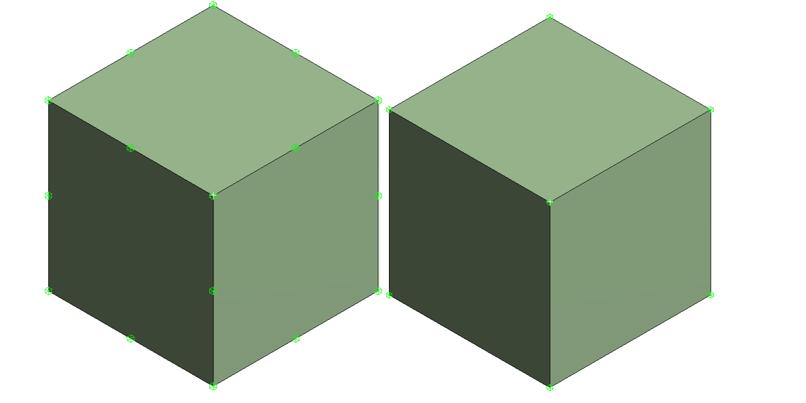 Квадратичный элемент (слева) и линейный элемент (справа). Узлы выделены зеленым цветом. Обратите внимание на наличие срединных узлов у элемента второго порядка