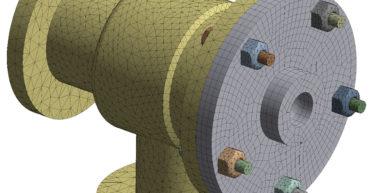 Геометрия трубного соединения, гибридная сетка, построенная в Ansys Mechanical